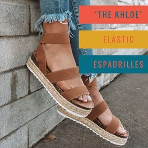 'The Khloe' Elastic Espadrilles In Iced Mocha